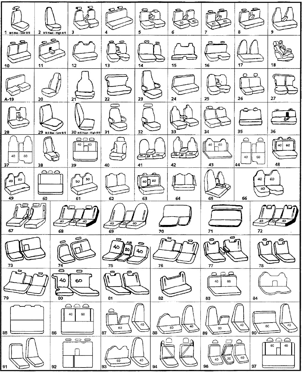 RPM Auto Seat Covers - Dessins de siège